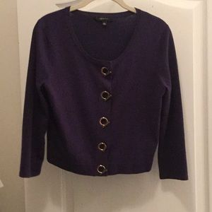 Navy sweater with gold closures